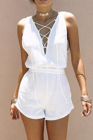 White Lace Up Romper Sexy Women Sleeveless Summer Romper Jumpsuits