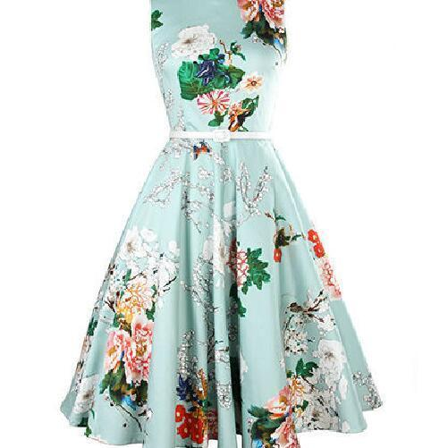 Floral Printed Round neck Sleeveless Dress Vintage Fit And Flare