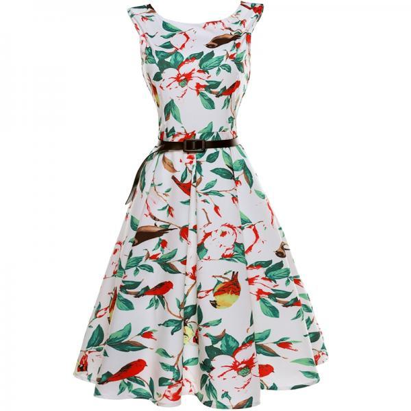 Vintage Floral Bird Printed Sleeveless Dress Vintage Hepburn Stlye Fit And Flare