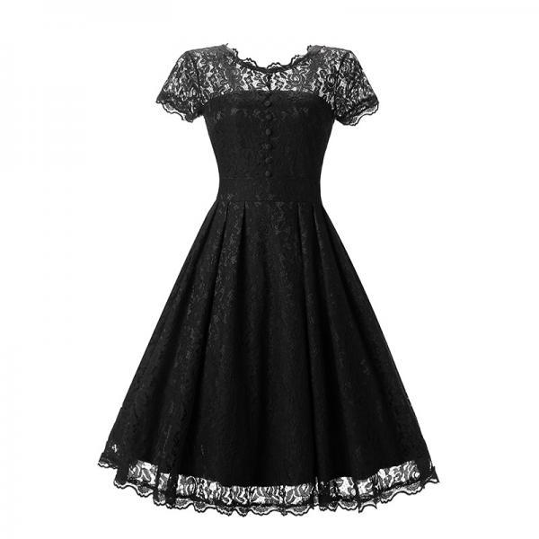 Vintage Black Lace Sleeveless Party Dress Vintage Hepburn Stlye Fit And Flare