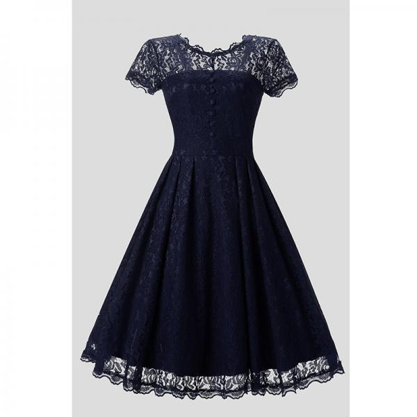 Vintage Navy Lace Sleeveless Party Dress Vintage Hepburn Stlye Fit And Flare