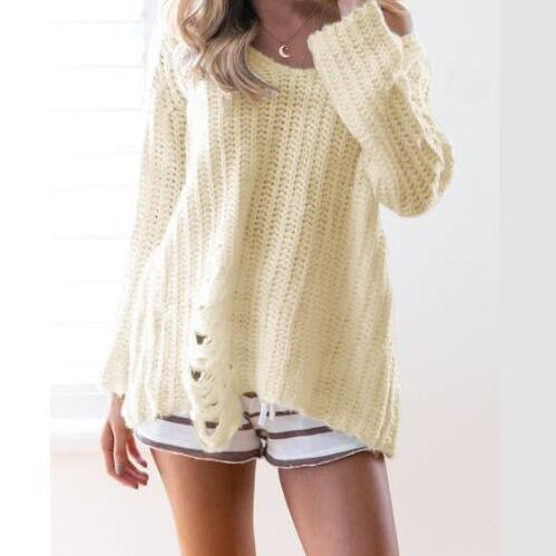 New Women V-neck Ripped Long Sleeve Loose Knitted Sweater In Cream White