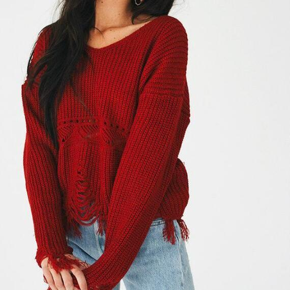 New Women V-neck Tassel Ripped Long Sleeve Loose Knitted Sweater