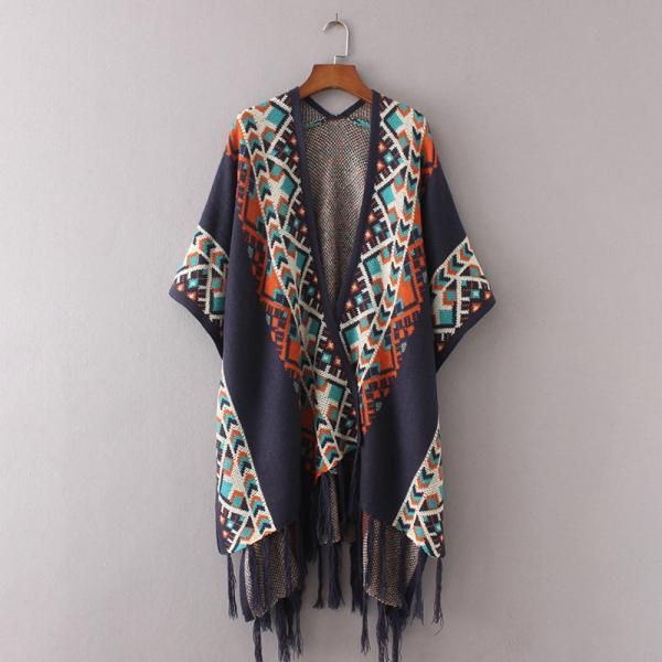New Women Ethnic Print Tassel Cardigan Poncho