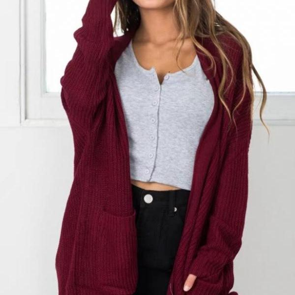 New Women Open Front Oversize Cardigan WIth Pocket