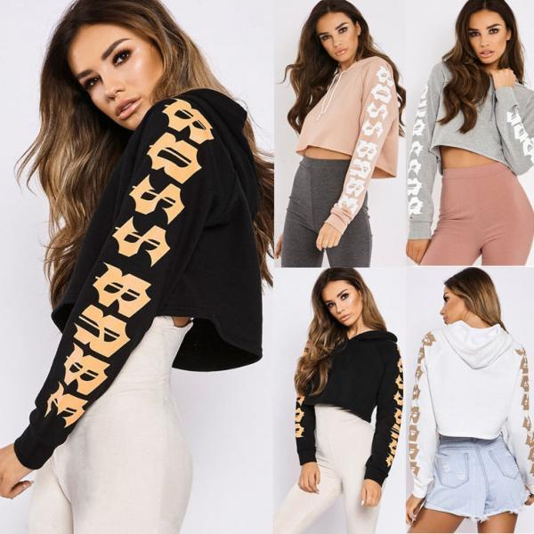 Women Fashion Letter Prints Cropped Hoodie Sweater Top