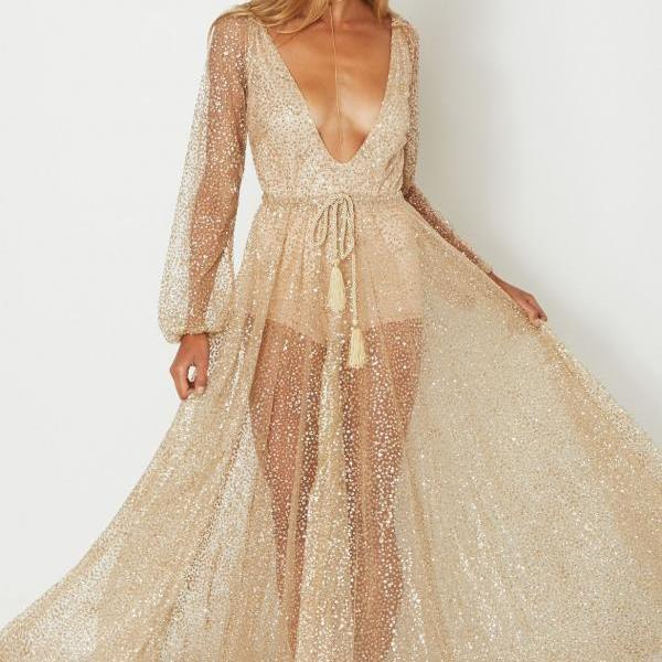 Sexy V-neck Sequins Maxi Dress See-through Long Sleeve Party Dress