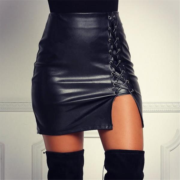 Black Lace Up Skirt Bandage Sexy Leather Skirt