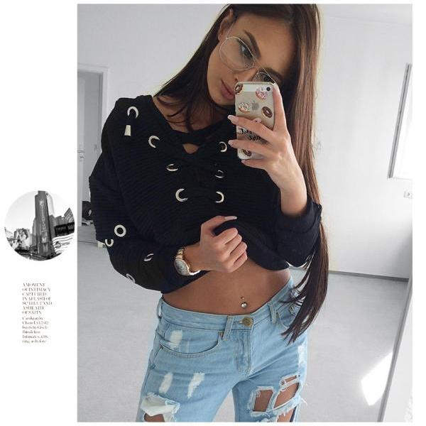 Black Lace Up Sweater Black Top