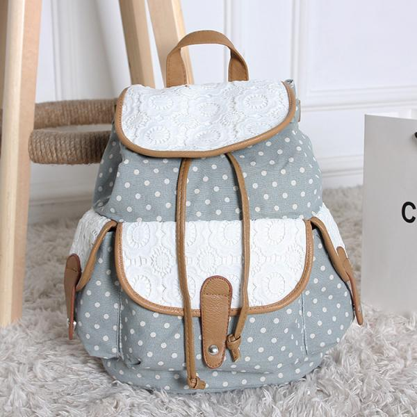 FREE SHIPPING Denim Blue Dot and Lace Canvas Backpack