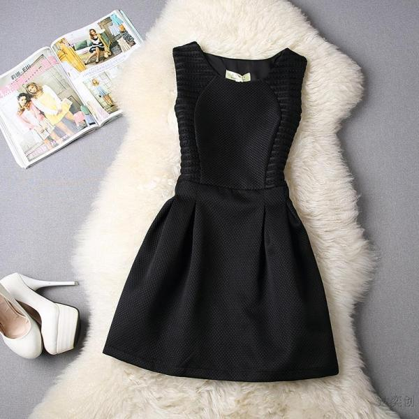 FREE SHIPPING Hollow Out Sleeveless Flare Dress In Black