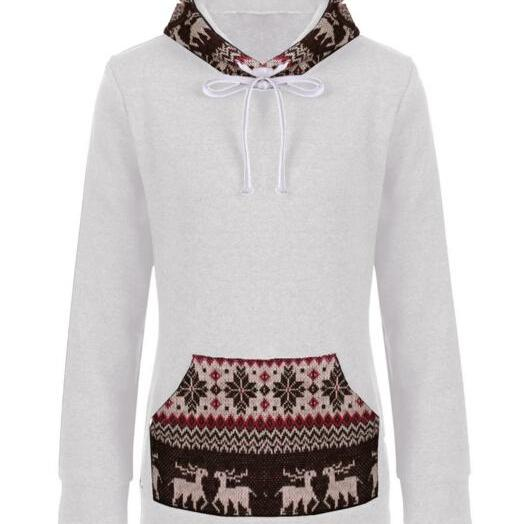 FREE SHIPPING Retro Light Grey Tribal Print Big Hoooded Sweater