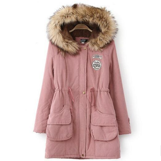 FREE SHIPPING Pink Fur Hooded Zipper Embellished Military Coat