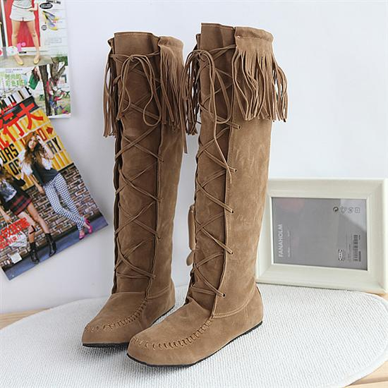 FREE SHIPPING Khaki Lace Up Tassel Boots