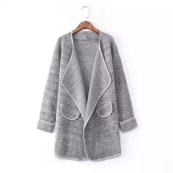 FREE SHIPPING Grey Lapel Long Sleeve Loose Sweater Coat