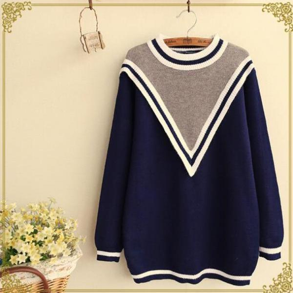 FREE SHIPPING Vintage College Style Round Neck Sweater