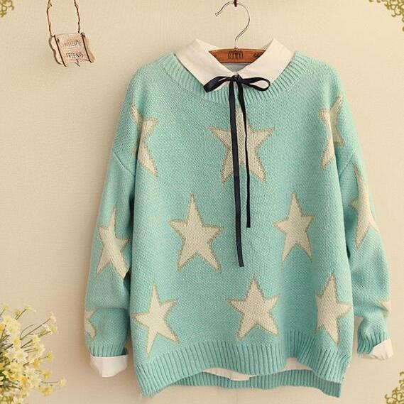 FREE SHIPPING Cute Mint Stars Pattern Long Sleeve Sweater