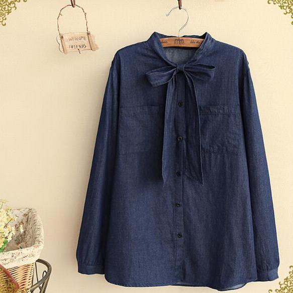 FREE SHIPPING Vintage Denim Lace Up Bow Long Sleeve Blouse