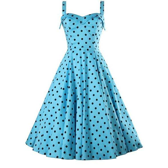 FAST SHIPPING 20s Vintage Blue Polka Dots Printed A-Line Dress