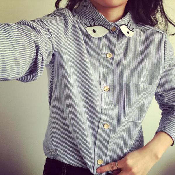 FAST SHIPPING Retro Embroidery Eyes Striped Long Sleeve Shirt