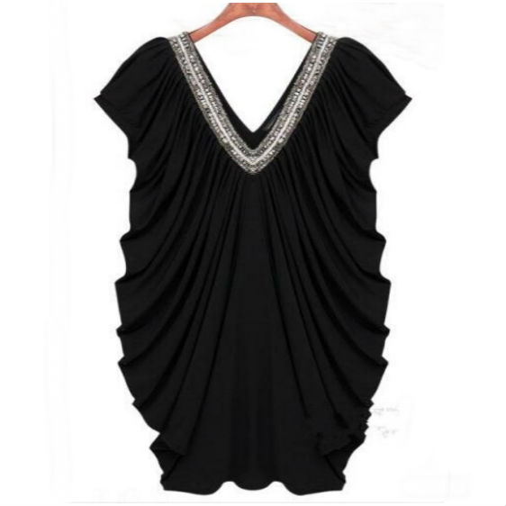 FAST SHIPPING Sexy Women's Black V-Neck Beading Party Dress Loose Fashion Loose Fit Dress
