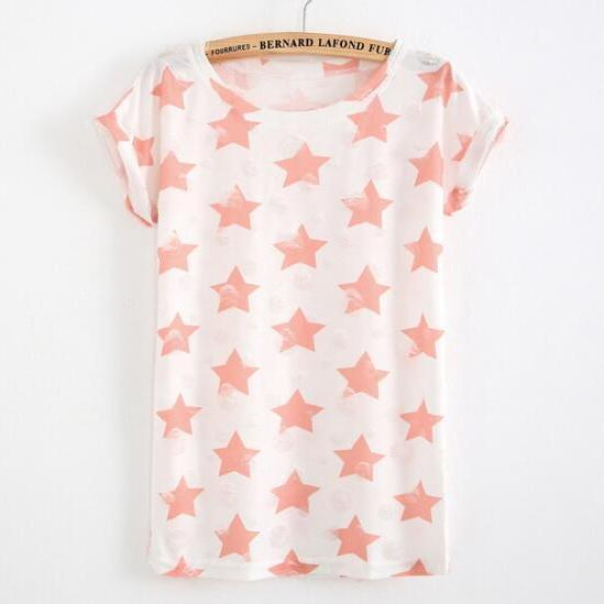FAST SHIPPING New Harajuku Pink Stars Printed Distressed Summer T-shirt