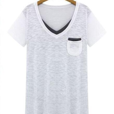 New Women's Fashion CasualWhite V-Neck Pocket T-Shirt Top