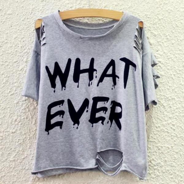 New Women's Summer Fashion Casual Black White Grey Letter Prints Ripped T-Shirt Top