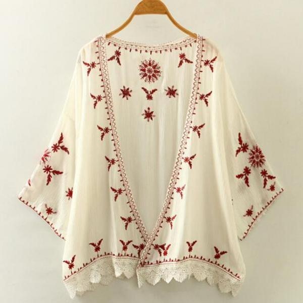 New Women's Summer Fashion White Black Boho Floral Embroidery Long sleeve Kimono Cardigan