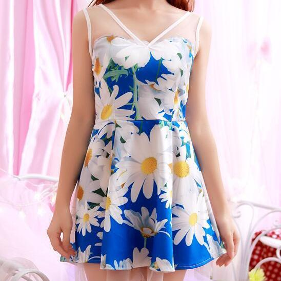 New Fashion Women's Blue Floral Mesh Sleeveless Dress
