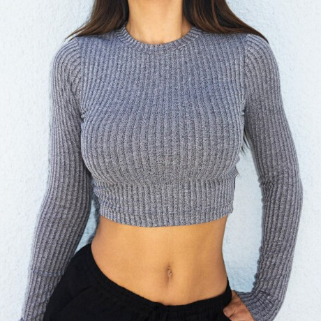 Grey Knitted Crew Neck Long Sleeves Cropped Sweater Featuring Cutout Back