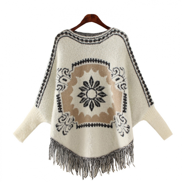 Fall Winter Fashion Women Ethnic Floral Pattern Tassel Poncho Sweater Loose Fit Outwear