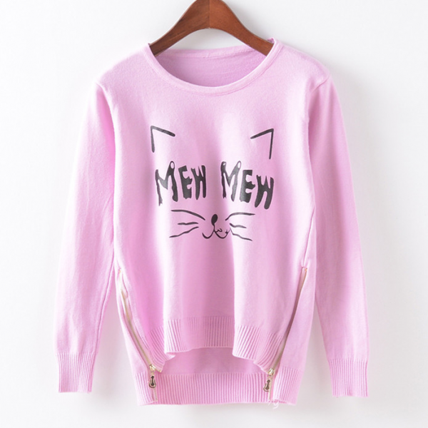 Fall Winter Fashion Women Cute Cat Mew Zipper Hem Sweater In Pink