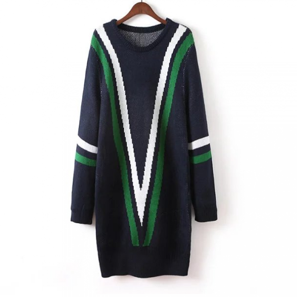 New Women Green Red Striped Long Knitted Dress Jumper Sweater - Fall Winter Fashion
