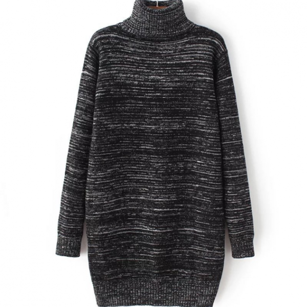 Knitted Turtleneck Long Sleeves Sweater Dress