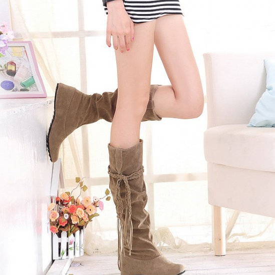 FAST SHIPPING Fall/ Winter 2016 Fashion Women Suede leather High Boots Wedge Heeled Boots
