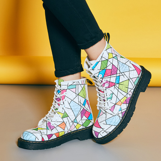 FAST SHIPPING Fall/ Winter 2016 Harajuku Fashion Women White Geometric Lace Up High Heel Martin Boots Ankle Booties