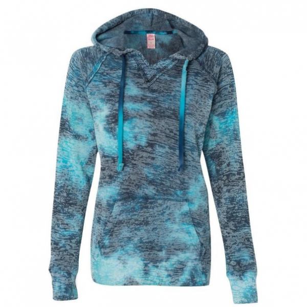 Fall Winter Fashion Tie Dye Blue Pocket Front Hoodie Sweatshirt Sweater