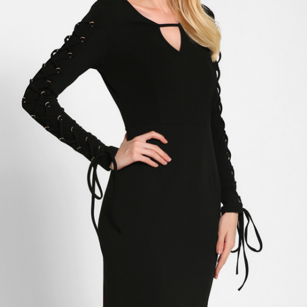 Black Casual Long Sleeve with Lace Up Bodycon Dress