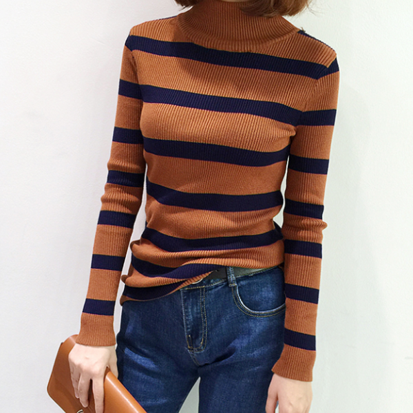 Fall Winter Harajuku Fashion Slim High Neck Long Sleeve Striped Knit Sweater