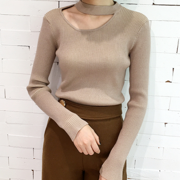 Fall Winter Harajuku Fashion Slim Hollow Halter Long Sleeve Knit Sweater