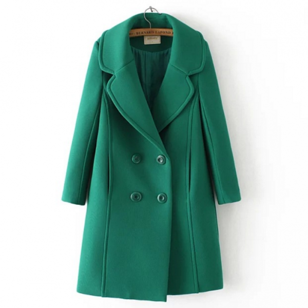 New Fall/Winter Women Classic Green Double Breasted Pocket Trench Coat