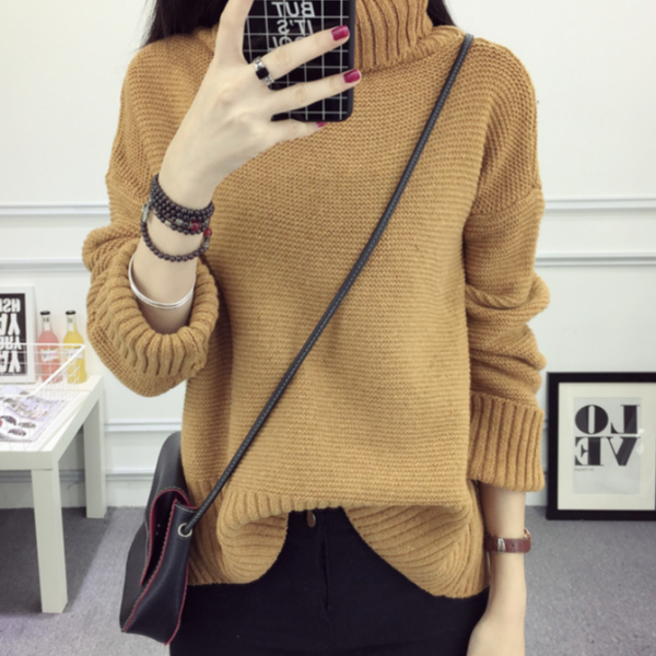 Knitted Turtleneck Long Sleeves Sweater