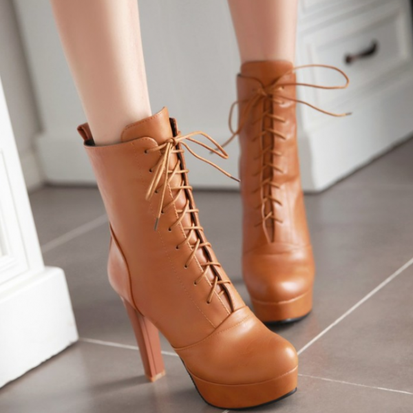 New Fashion Punk Lace Up High Heel Shoes Women Heeled Booties Platform Pump Shoes