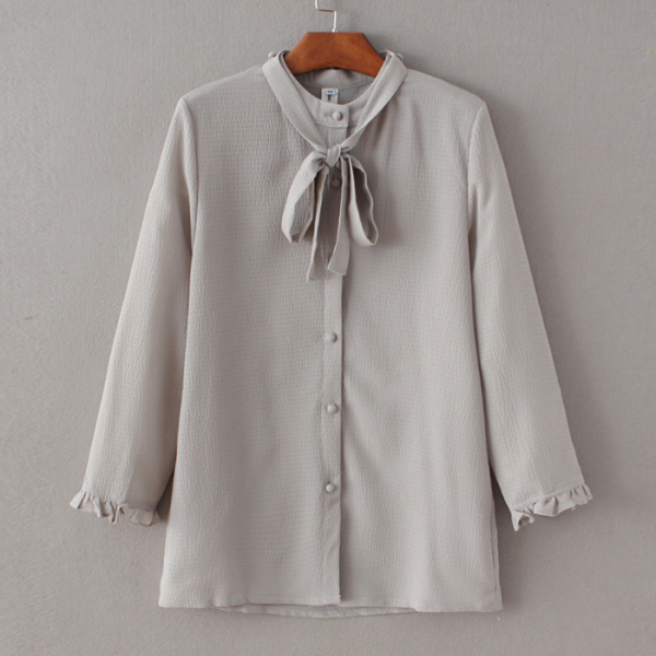 Button Down Blouse with Bow Accent Detailing and Ruffle Sleeves
