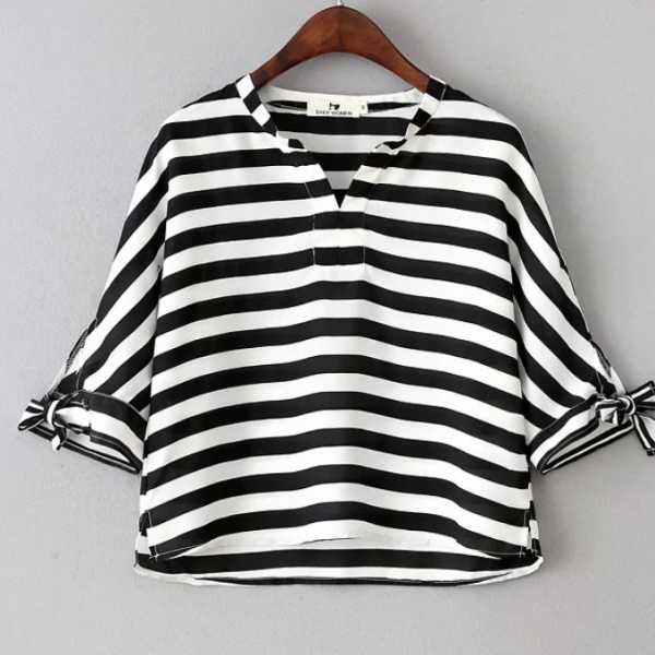Walden V-neck Black and White Striped Blouse featuring Bow Details