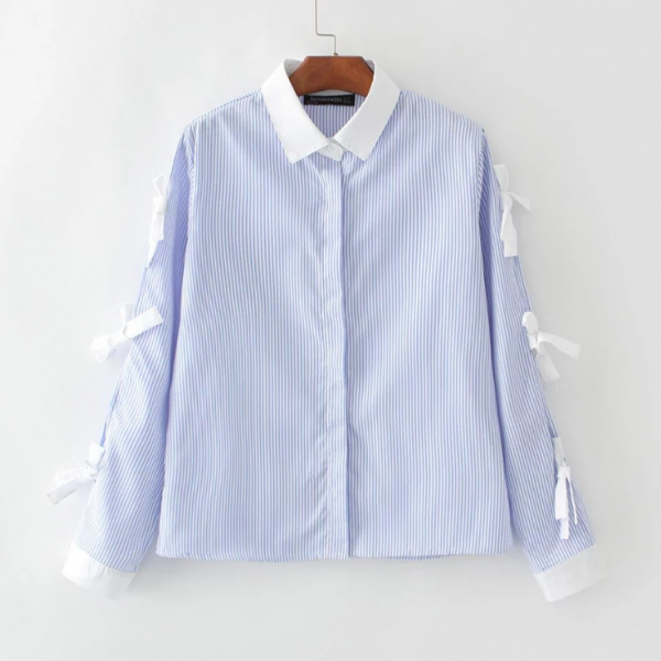New Spring Fashion Women Blue Stripes Printed Blouse With Bow Details Women Long Sleeve Shirt Top