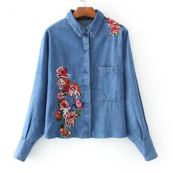 Floral Embroidered Denim Button Down Shirt