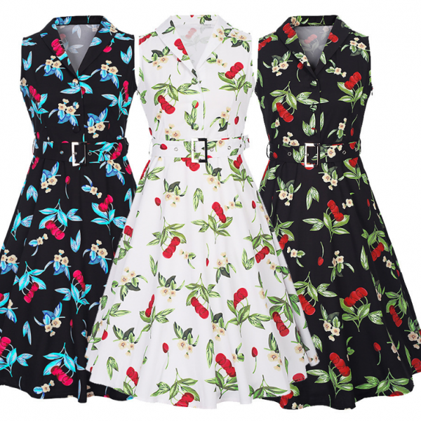 White or Black Cherry Printed Collared Dress with Belt