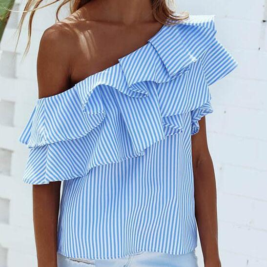 Blue and White Striped Ruffled One-Shoulder Blouse